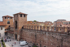 View from the fortress wall to Castelvecchio Castle Royalty Free Stock Photo