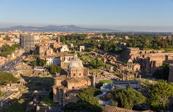 View of Forum Romanum with Colosseum - Italy Stock Photo