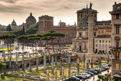 View of the Forum of Trajan and the Piazza Venezia in Rome Stock Image