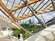 View from Foundation Louis Vuitton terrace to La Defense Stock Photo