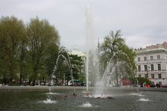 View of the fountain in the  Park stock image