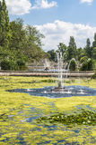 View of a fountain in Hyde Park, London. View of a fountain with flowing water in Hyde Park, London, UK Stock Images