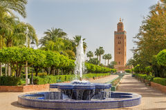 View at the fountain with Koutoubia minaret in Marrakesh ,Morocc Stock Photography