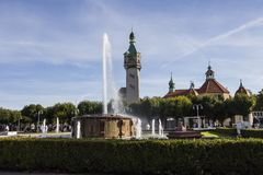View of the fountain and the lighthouse in the background in the city of Sopot. Poland.  royalty free stock images