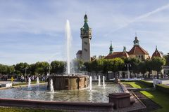 View of the fountain and the lighthouse in the background in the city of Sopot. Poland.  stock photo