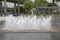 View of the fountain in Marina Barrage. Singapore, Singapore- August 07, 2018: View of the fountain in Marina Barrage stock image