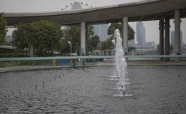View of the fountain in Marina Barrage. Singapore, Singapore- August 07, 2018: View of the fountain in Marina Barrage royalty free stock images
