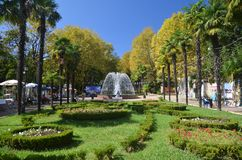 View of the fountain in the park Riviera city of Sochi Stock Images