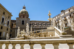 The view of the fountain in Piazza Pretoria in Palermo . Sicily stock images