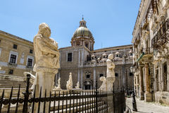 The view of the fountain in Piazza Pretoria in Palermo . Sicily royalty free stock images