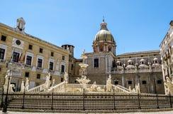 The view of the fountain in Piazza Pretoria in Palermo . Sicily stock photo