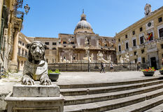 The view of the fountain in Piazza Pretoria in Palermo . Sicily stock photography