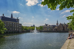 View of the fountain and the promenade in the center of The Hagu Royalty Free Stock Photos