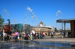 View of fountains on the Moscow river embankment. Stock Photography
