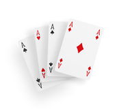 View of four aces playing cards Stock Images