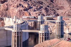 View on four intake towers of Hoover dam stock photos