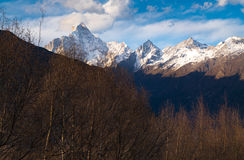 View of the four peaks of Mount Siguniang covered with snow Stock Photos