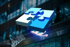 Four puzzle pieces making a logo on a futuristic interface - 3d. View of  Four puzzle pieces making a logo on a futuristic interface - 3d rendering Royalty Free Stock Image
