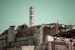 View of the fourth block of the Chernobyl nuclear power plant Royalty Free Stock Images