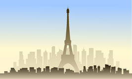 View of france city and eiffel tower Stock Photo