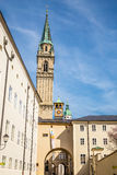 View of Franciscan church tower-Salzburg,Austria Royalty Free Stock Photography