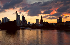 Frankfurt am Main cityscape at sunset Royalty Free Stock Images