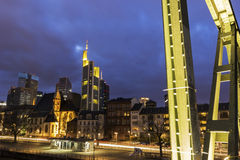 View on Frankfurt am Main in Germany from Eiserner Steg. Frankfurt am Main in Germany in the evening stock image