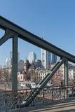 View of Frankfurt am Main skyline and Eiserner Steg bridge Royalty Free Stock Photo