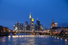 The view of Frankfurt am Mine skyscrapers at dusk time Stock Photography