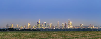 View of Frankfurt skyline   by night Royalty Free Stock Photo