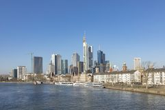 View of Frankfurt skyline with river Main Royalty Free Stock Photography