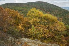 View from Franklin Cliffs Overlook. An autumn view from Franklin Cliffs Overlook at milepost 49 elevation 3140 feet located on the Shenandoah National Park stock photography