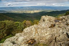 View from Franklin Cliffs Overlook. An autumn view from Franklin Cliffs Overlook to a narrow view down the hollow to the Shenandoah Valley at milepost 49 stock photography