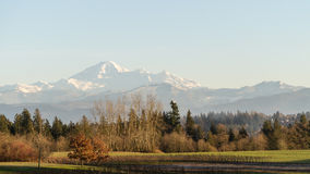 View of the Fraser Valley with Mount Baker in the Background Royalty Free Stock Images