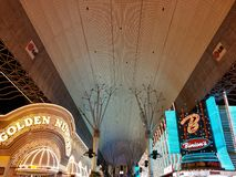 view on Freemont Street in the city of Las Vegas at night stock image