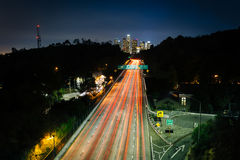View of the 110 Freeway and downtown Los Angeles Skyline at nigh Stock Photo