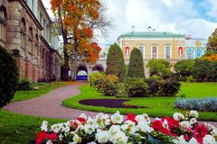 View of the Freilinsky Garden, `Cold Baths` and `Agate Rooms` of the Catherine Palace in Tsarskoye Selo, Pushkin, Saint. View of the Freilinsky Garden, Cold Stock Photo
