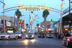 View of the Fremont East District. Sign at downtown Las Vegas Stock Photography