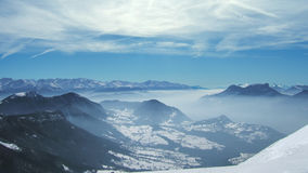 View of french alps with snow in winter Stock Images