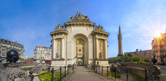 View of french city Lille. With belfry, council hall and Paris' gate Royalty Free Stock Photo