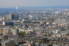 View of French city of Paris with factories and houses Royalty Free Stock Image