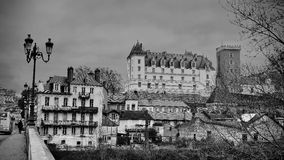 Castle of Pau, France. Black and white view of the castle of king Henri 4 in the city of Pau France Royalty Free Stock Photography