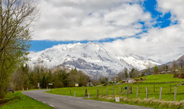 View of the french Pyrenees mountains in spring time Stock Photo