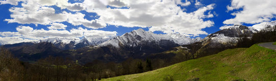 View of the french Pyrenees mountains in spring time Stock Images