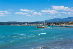 View of French Riviera. French Riviera, the Mediterranean coastline of the southeast corner of France Royalty Free Stock Photography