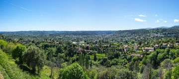 View of French Riviera. Panoramic view of French Riviera, the Mediterranean coastline of the southeast corner of France Royalty Free Stock Photo