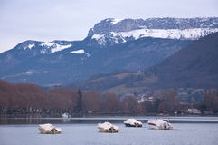 View of the French town of Annecy in winter with fog Stock Images