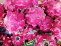 The view of fresh dragon fruits on the box in the market