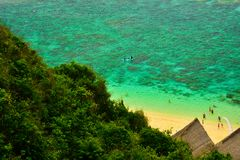 View of fresh ocean sea water from top of the hill stock images