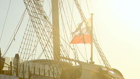 View of the frigate grace at the summer sunset in slowmotion stock video footage